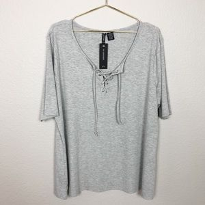 9e52e2f9570c6 NWT No Comment Plus Ribbed Lace Up Tee